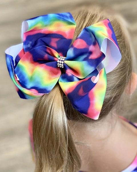 """Fuchsia Tie Dye 7"""" Hair Bow *Final Sale*"""