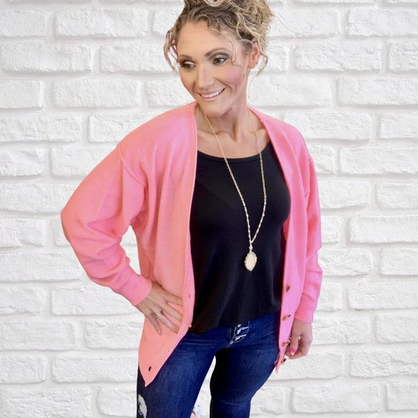 Bright Pink Oversized Cardigan For Women