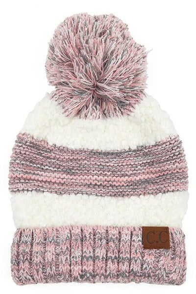 C.C. Heathered Rose Sherpa Knit Pom Beanie For Adults *Final Sale*