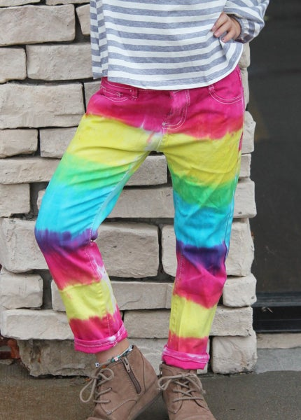 Bright Tie Dye Denim For Girls