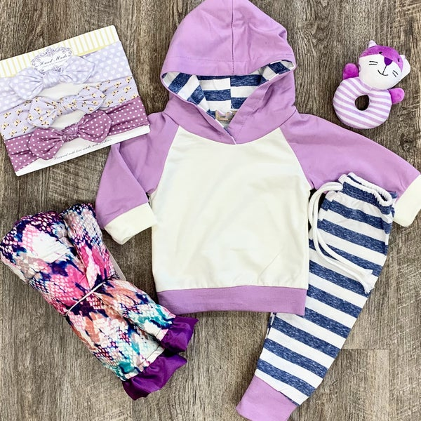 Lavender & Stripes 2pc Jogger Set For Baby