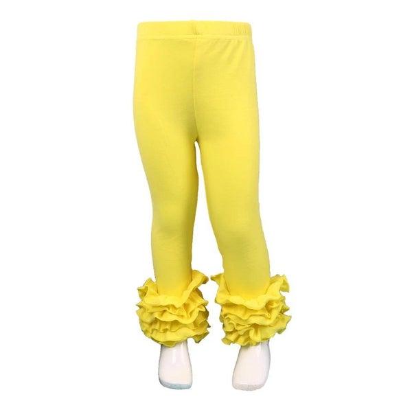 Yellow Ruffle Legging For Girls