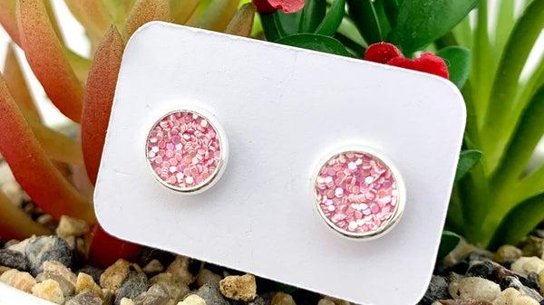 Posh Pink Glitter Stud Earrings *Final Sale*