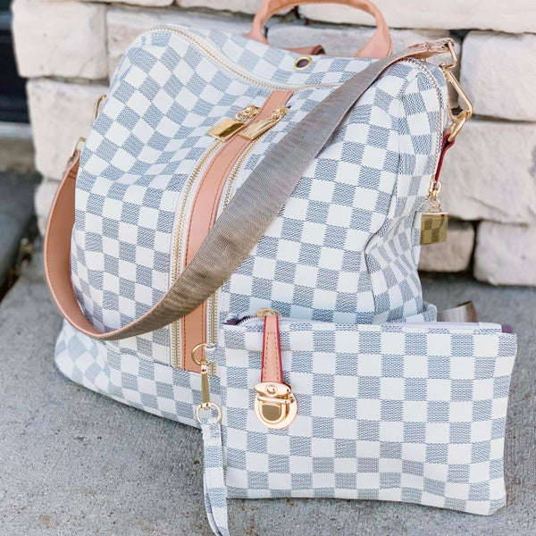 Luxury White Checkered Convertible Backpack & Wristlet
