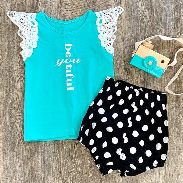 Mint Beautiful Lace Tank For Girls