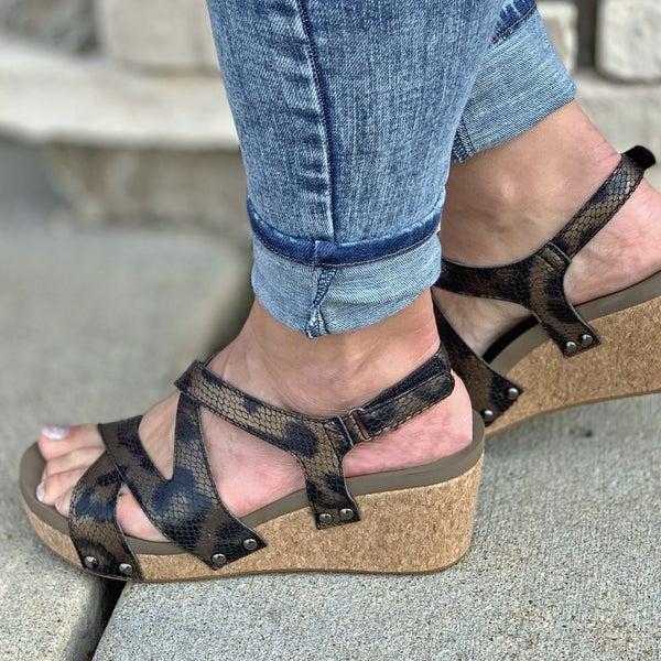 Corkys Metallic Leopard Wedge Sandal For Women