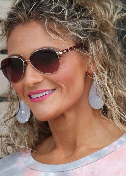 Silver Splash Teardrop With Gold Shimmer Earrings