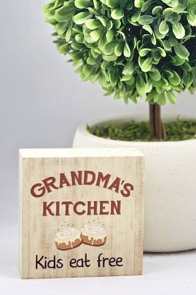 Grandma's Kitchen Kids Eat Free Mini Wood Sign
