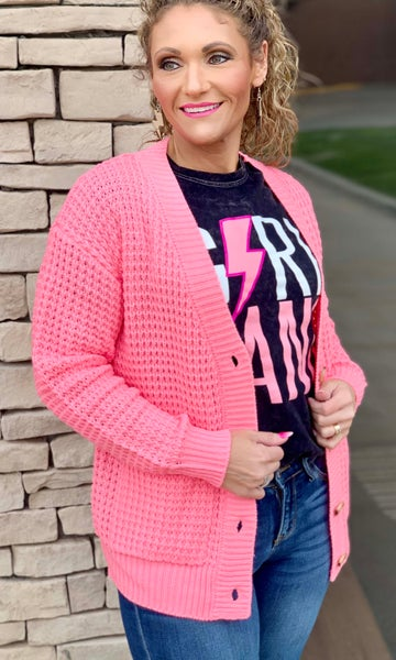 Neon Pink Chunky Waffle Cardigan For Women