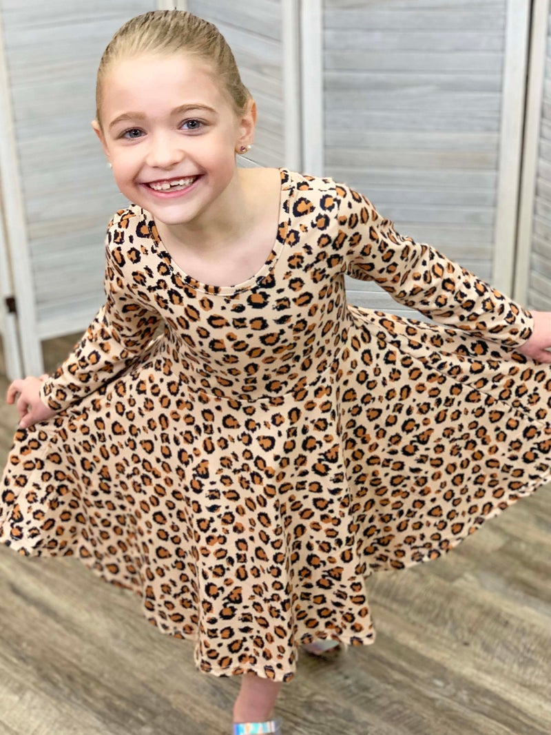 Animal Print Twirly Dress For Girls