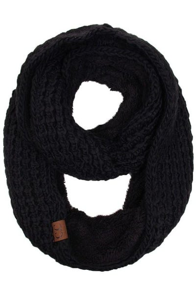 C.C. Black Sherpa Lined Infinity Scarf For Women
