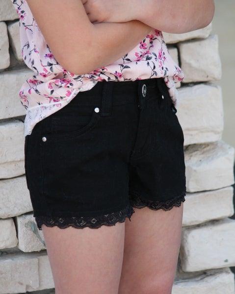 Black Lace Denim Shorts For Girls