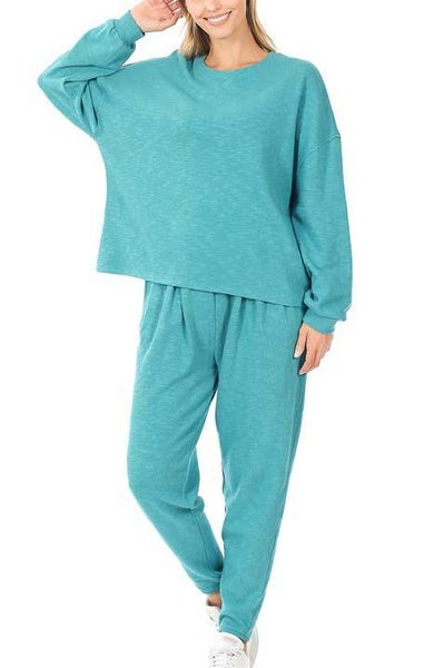 Ice Blue Loungewear Set For Women