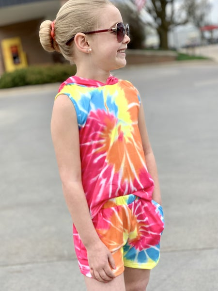 Bright Tie Dye Outfit Set For Girls