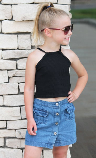 Black Crop Tank With Button Skirt For Girls