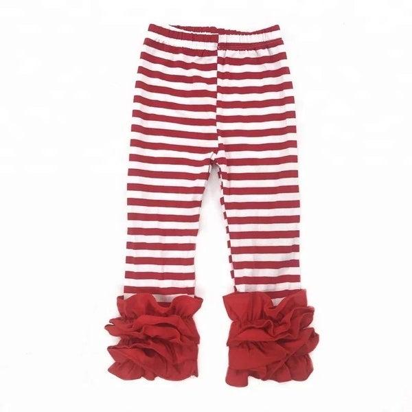 Red & White Stripe Ruffle Legging For Girls *Final Sale*