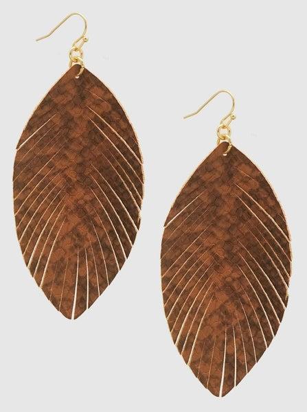 Brown Embossed Leatherette Earrings *Final Sale*