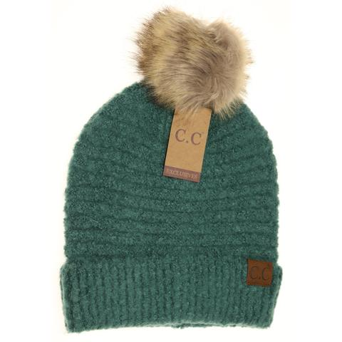 C.C. Forest Green Boucle Knit Pom Beanie For Women