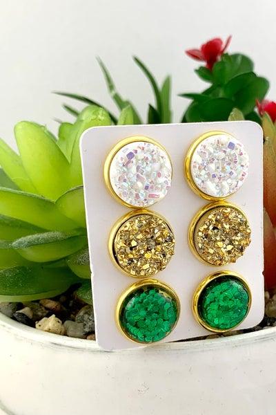 Lucky Charm Druzy Stud Earrings *Final Sale*