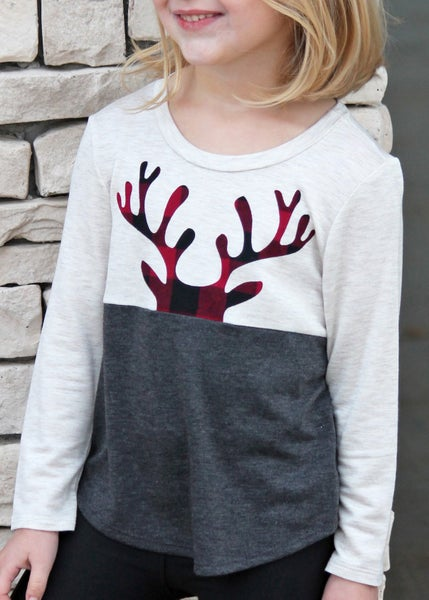 Peeking Plaid Reindeer Top For Girls *Final Sale*