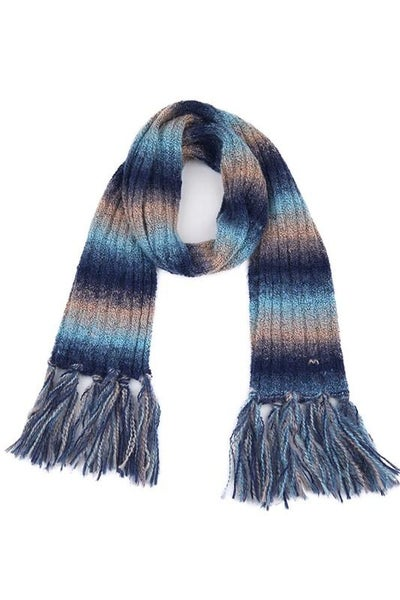 C.C. Navy Ombre Scarf With Fringe For Women