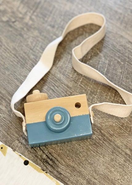 Steel Blue Wooden Toy Camera *Final Sale*