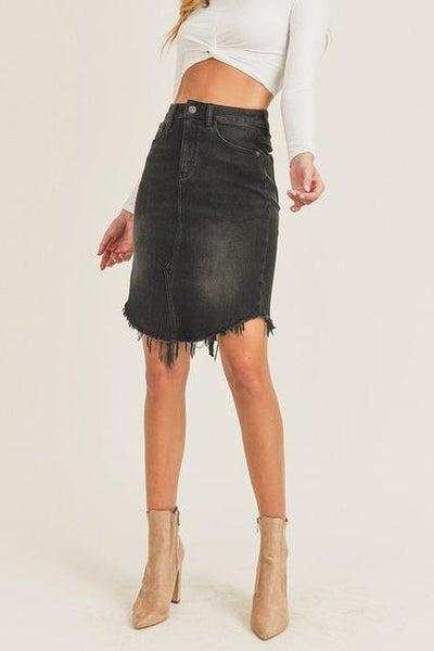 Risen Black Frayed Hem Midi Skirt For Women