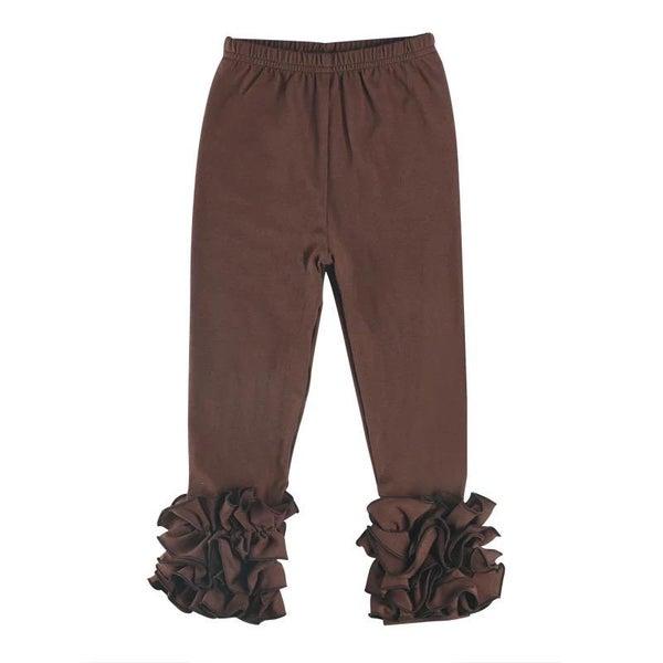 Brown Ruffle Legging For Girls