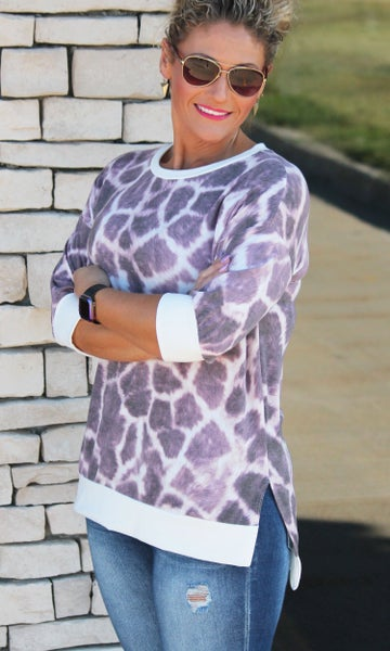 Animal Print Three-Quarter Sleeve Top For Women *Final Sale*