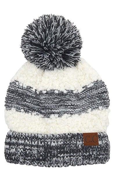 C.C. Heathered Black Sherpa Knit Pom Beanie For Adults *Final Sale*