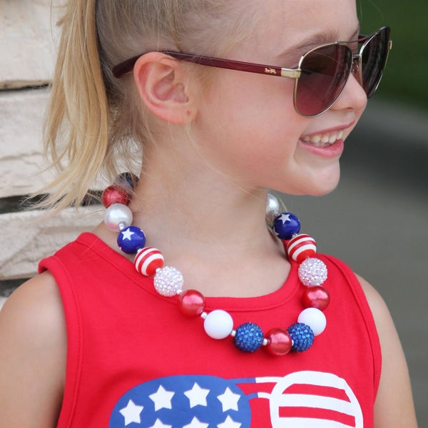 Sparkles 4th Of July Bubblegum Necklace For Girls