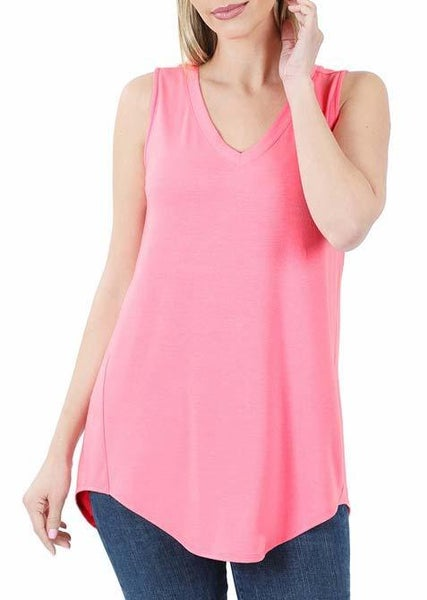 Bright Pink V-Neck Tank For Women