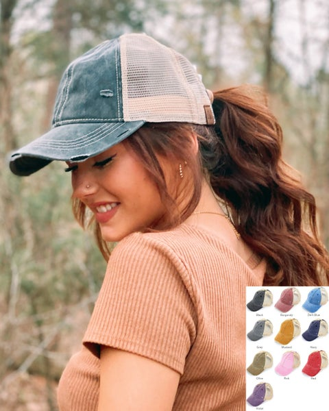 C.C. Distressed Washed High Pony Trucker Hat For Women *Final Sale*