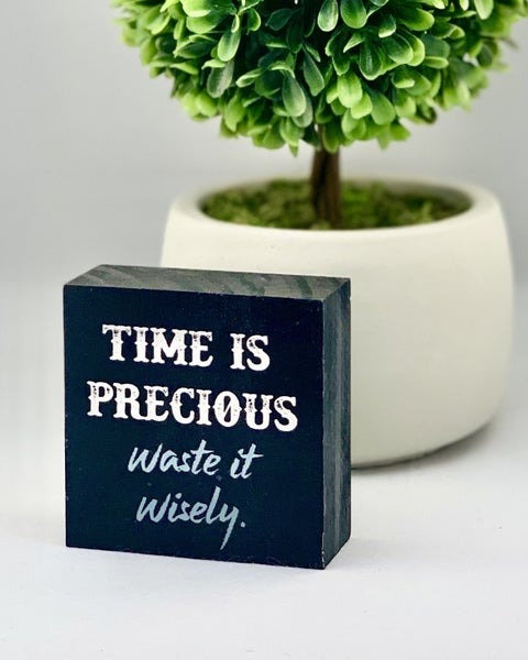 Time Is Precious Waste It Wisely Mini Wood Sign