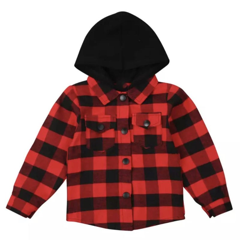 Hooded Red & Black Buffalo Plaid For Kids *Final Sale*
