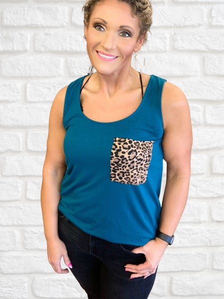 Teal Animal Print Pocket Tank For Women