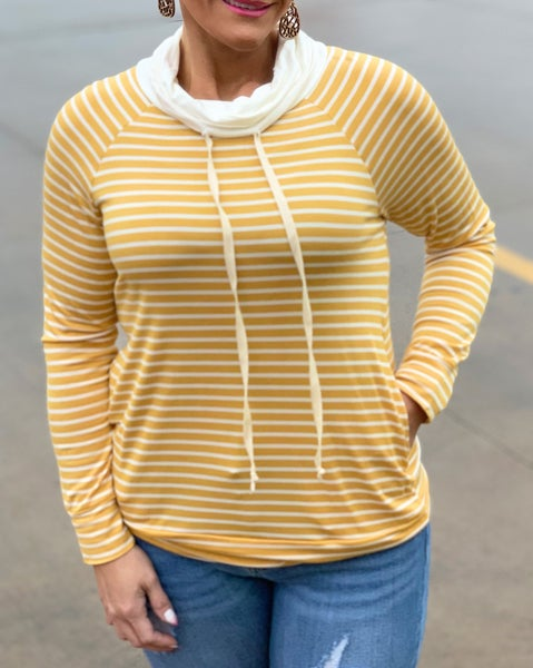 Mustard & Ivory Stripe Pullover For Women *Final Sale*