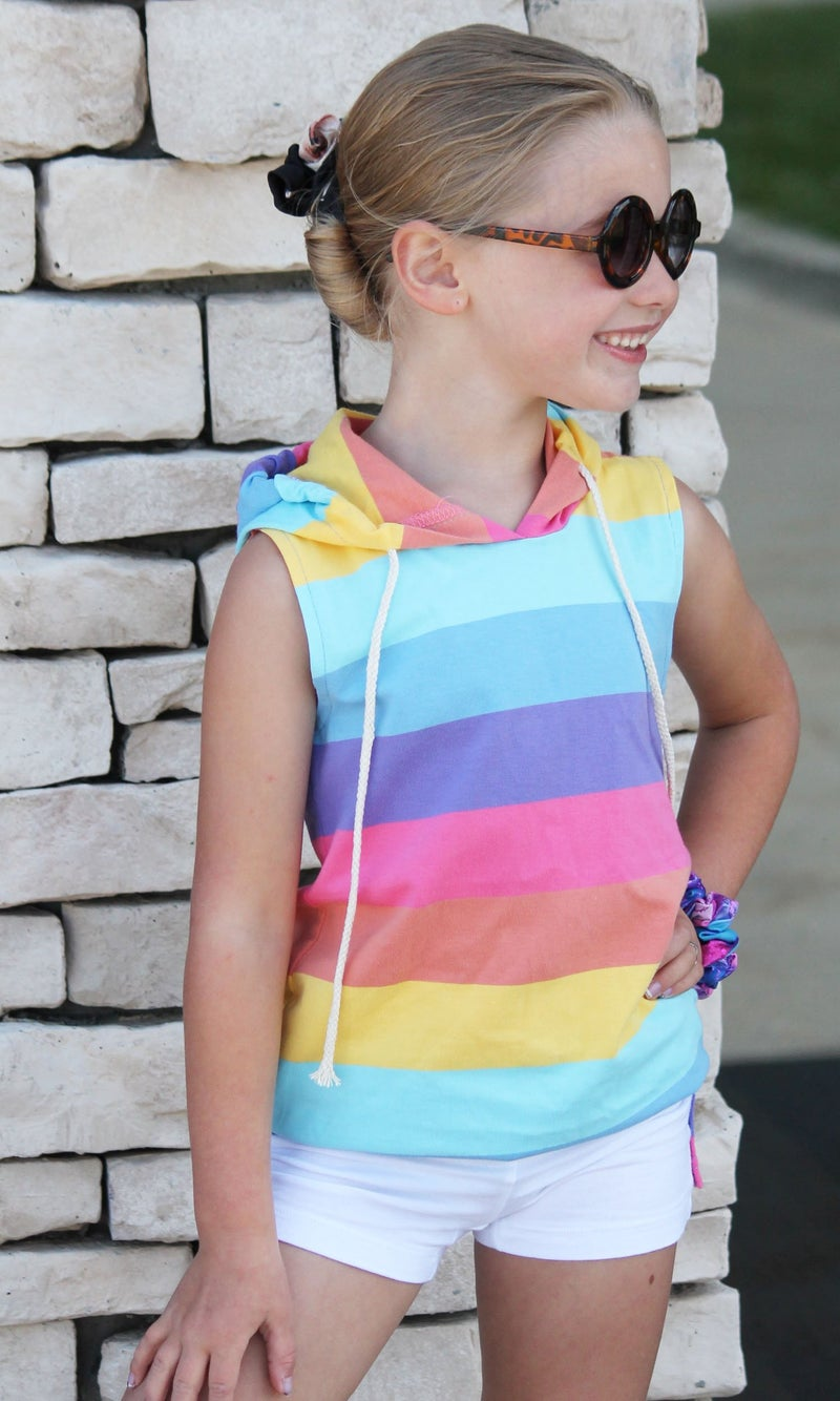 Multi Color Stripe Hooded Tunic For Girls *Final Sale*