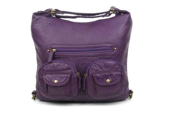 Purple Convertible Crossbody Backpack For Women