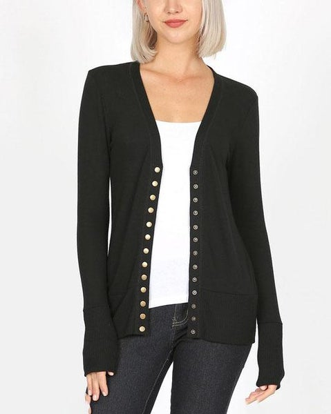 Black Snap Cardigan For Women *Final Sale*