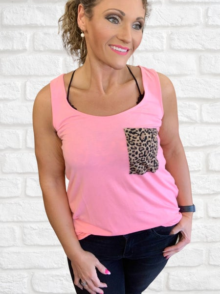 Neon Pink Animal Print Pocket Tank For Women