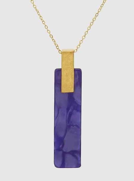 Blue Marble Acetate Bar Necklace *Final Sale*