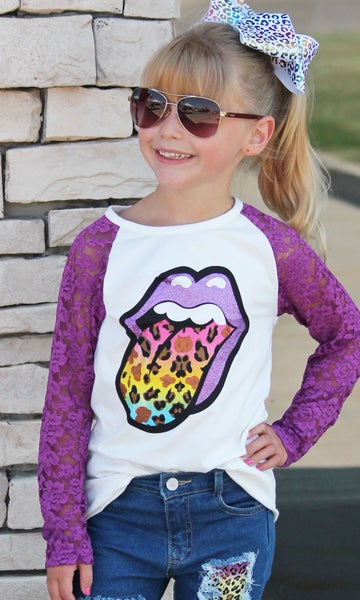Tie Dye Tongue Top For Girls