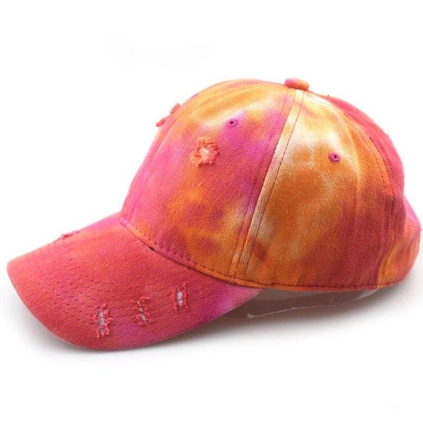 Orange & Pink Tie Dye Distressed Hat For Women *Final Sale*