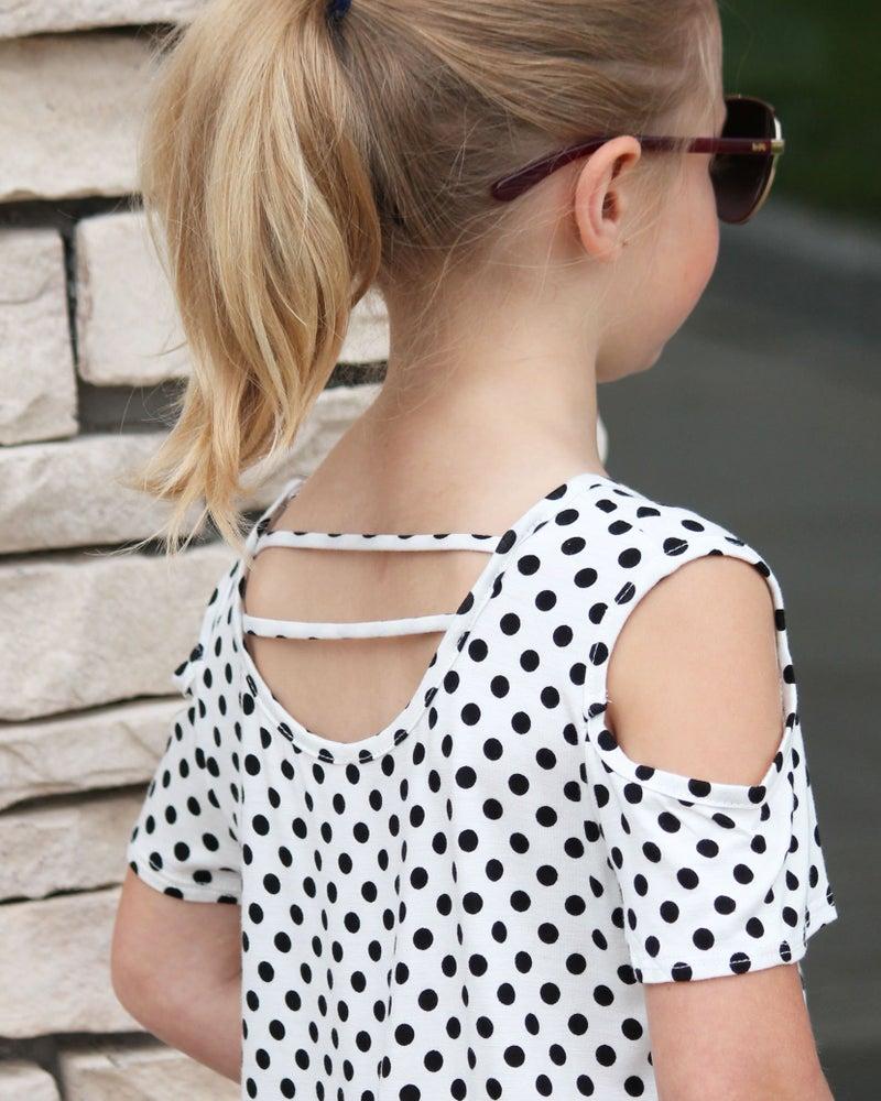 Polka Dot Cold Shoulder Top For Girls *Final Sale*