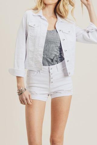 Classic White Denim Jacket For Women By Risen