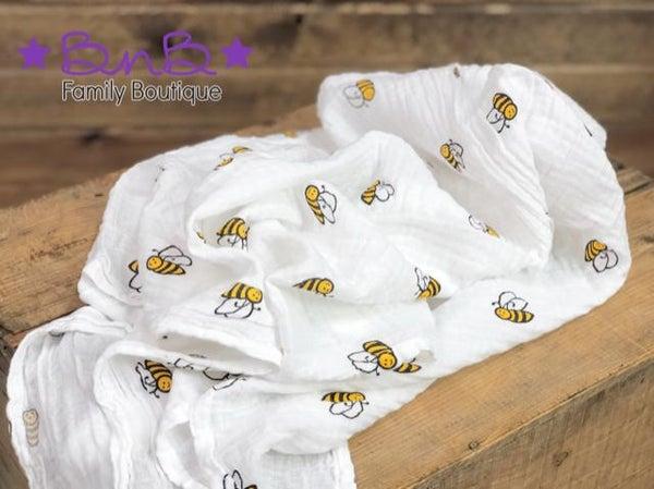 Bee Muslin Baby Blanket *Final Sale*