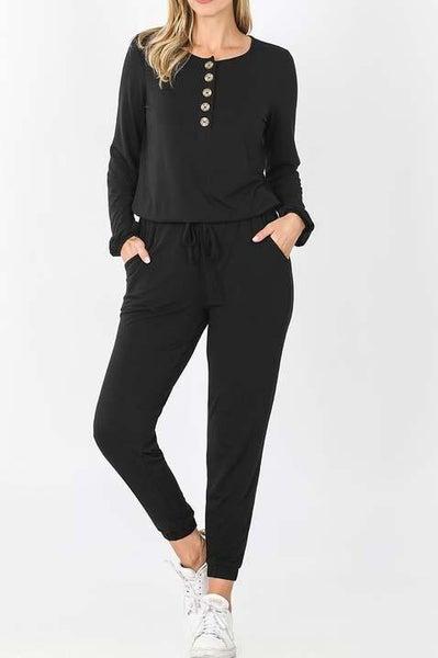 Black Long Sleeve Romper For Women