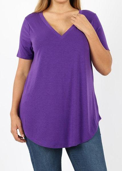 Purple Essential V-Neck Top - Women *Final Sale*