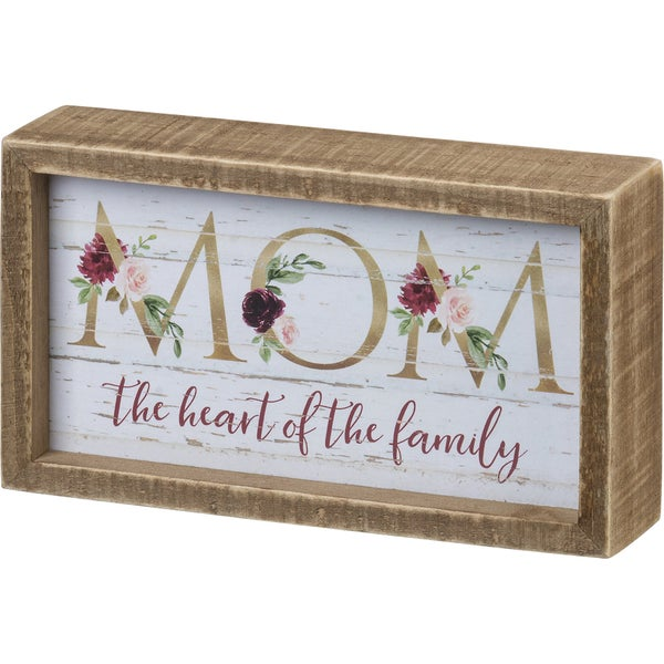 Mom The Heart Of The Family Wood Sign